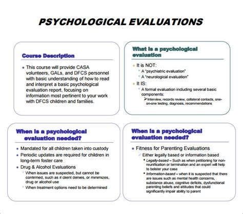 psychological evaluation template 7 free download free