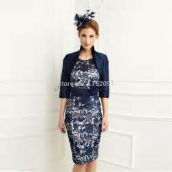 navy blue lace knee length mother of the bride dress with