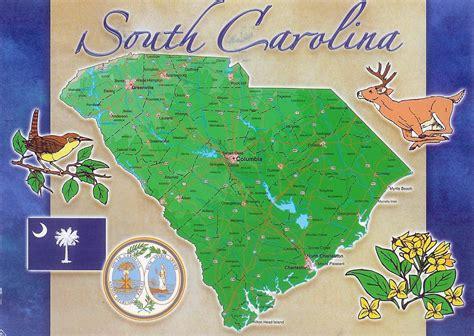 map of south carolina usa south carolina state postcard with map postcard with map