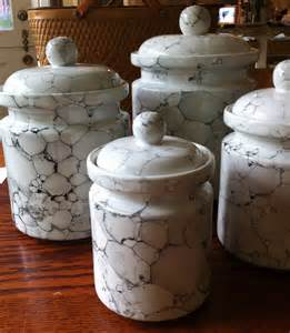 white kitchen canister set ceramic marble glaze