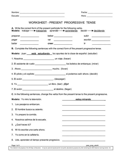 pattern of past continuous tense spanish worksheets printables present progressive