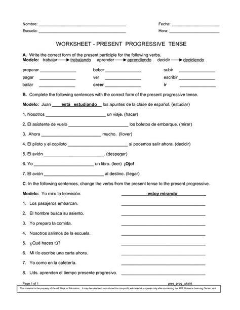 Present Progressive Worksheet worksheets printables present progressive