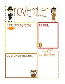 Constance Schmidt Teaching Resources Teachers Pay Teachers Thanksgiving Newsletter Template Free