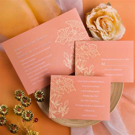 coral and gold wedding invitations printable coral custom fall wedding cards ewi212 as low as