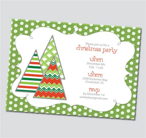 funky christmas trees holiday invitation printable thinkrsvp