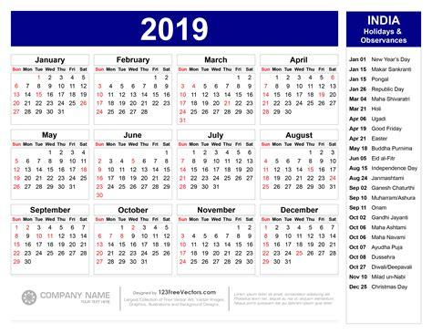 calendar  indian holidays