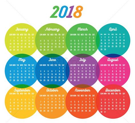 Calendã 2018 Vetor Abstract Colorful Calendar 2018 Vector Cdr Ai Eps Cdrai