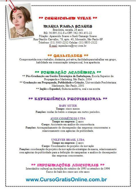 Modelo Curriculo Brasil O Que Colocar E N 227 O Colocar No Curriculum Vitae Cursos Gratuitos