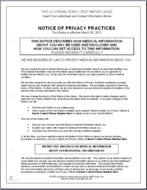hipaa privacy policy form template hitech compliant notice of privacy practices template