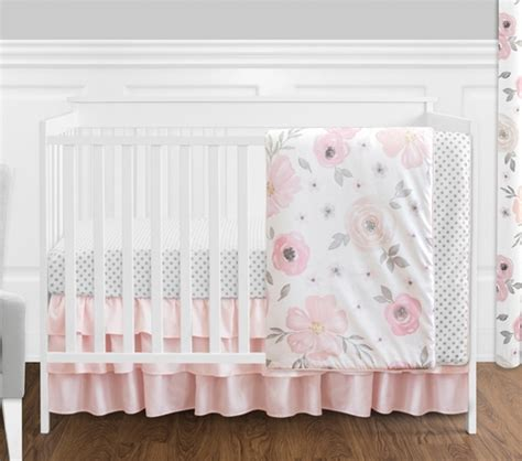 Blush Pink Bedding Sets 4 Pc Blush Pink Grey And White Watercolor Floral Baby Crib Bedding Set Without Bumper By
