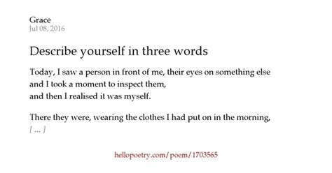 describe yourself in three words by grace hello poetry