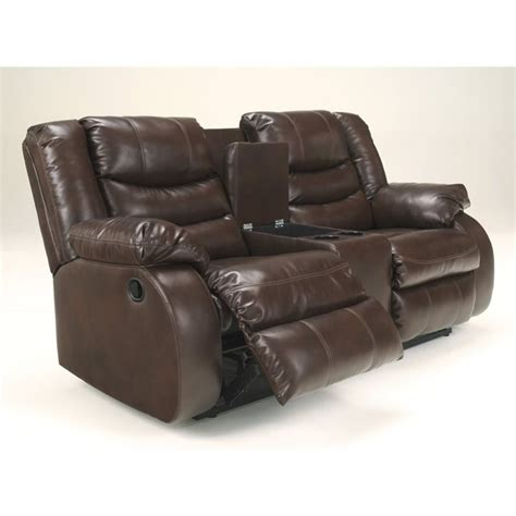 ashley reclining loveseat with console ashley linebacker leather reclining console loveseat in