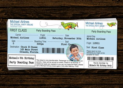 airline ticket template invitation custom airline ticket airplane birthday photo
