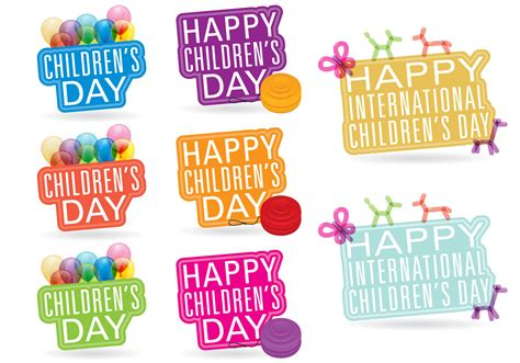 S Day Childrens Day Titles Free Vector Stock