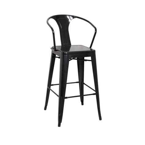 Black Bar Stools With Arms Midnight Black Tolix Bar Stool With Arms Tablebasedepot