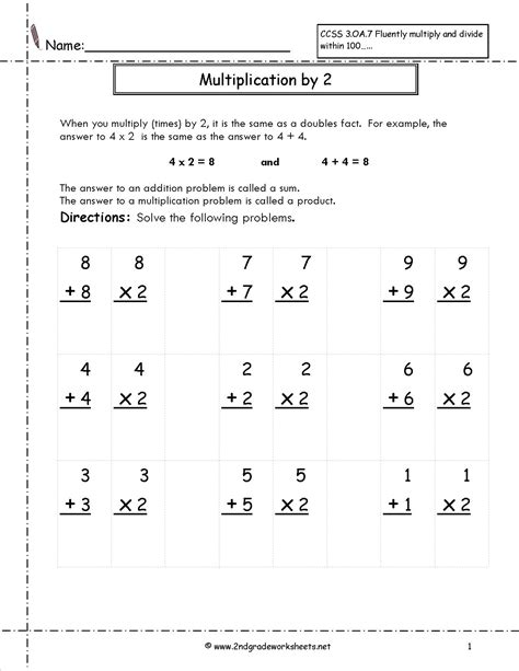 printable worksheets on multiplication for grade 2 multiplication worksheets and printouts