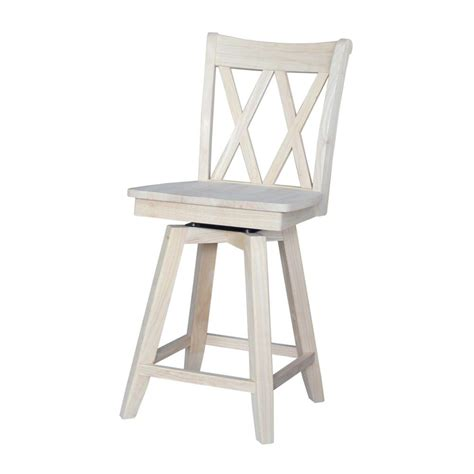 Wood Swivel Bar Stool International Concepts X Back 24 In Unfinished Wood Swivel Bar Stool S 202sw The Home