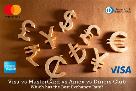 best foreign currency exchange rates visa vs mastercard vs amex vs diners club which has the