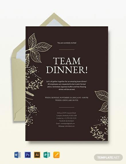 team dinner invitation template word psd indesign