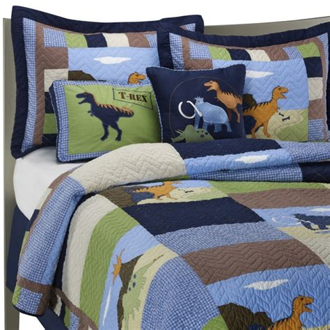 Dinosaur Quilt Set 100 Cotton Bed Bath Beyond For Dinosaur Bedding For