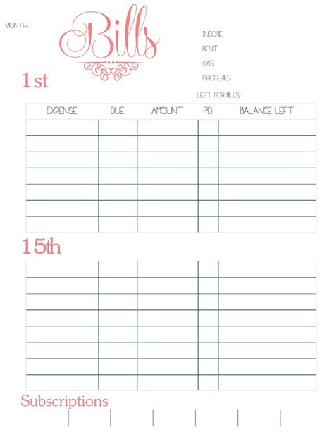 monthly bill organizer printable search results