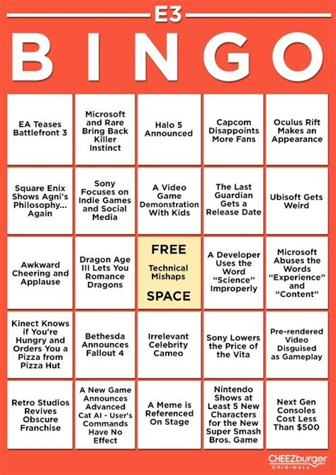 E3 Bingo Card Template by Get Ready For E3 2013 With E3 Bingo Card Custom Bingo