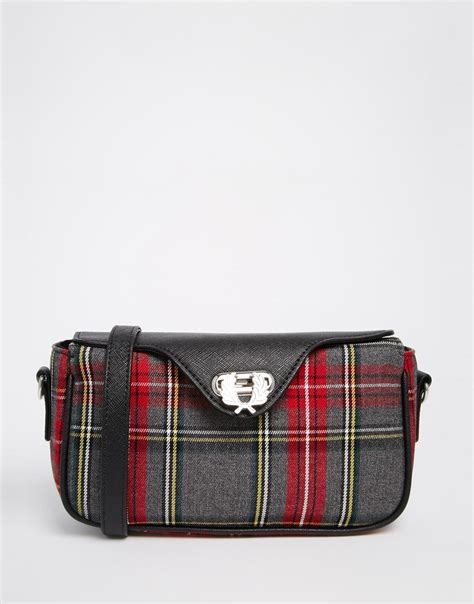 Plaid Bag fred perry signiture plaid crossbody bag in gray lyst