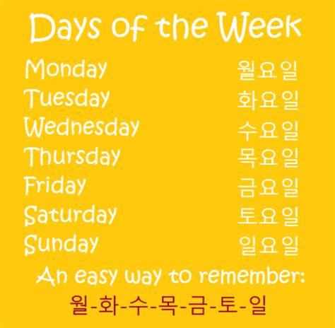 the week days of the week on