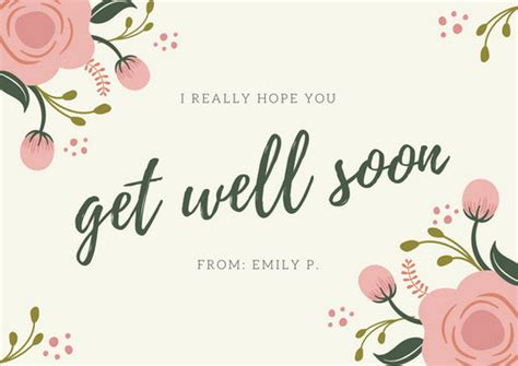get well card templates pink green floral simple get well soon card templates