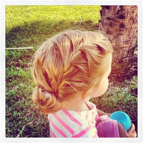 wedding hairstyles for toddlers toddler hairstyle side braid into sock bun adorable