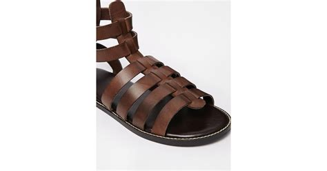 asos gladiator sandals in leather in brown for lyst