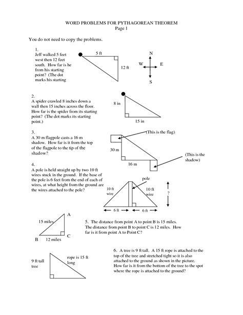 Pythagorean Theorem Word Problems Worksheet