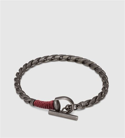 gucci horsebit bracelet with wrapped leather detail in