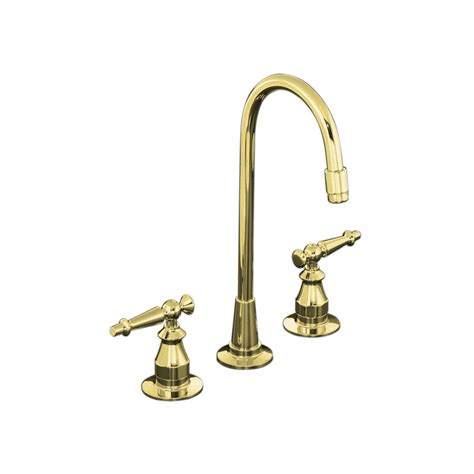 Kohler Brass Kitchen Faucets Shop Kohler Antique Vibrant Polished Brass High Arc Kitchen Faucet At Lowes