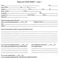 Client intake form for massage therapy butik work