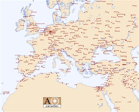 map of europe showing cities europe atlas the cities of europe and mediterranean basin