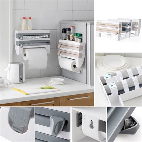 Kitchen Wrap Dispenser by Wall Mounted Roll Holder Paper Towel Kitchen Plastic Rack