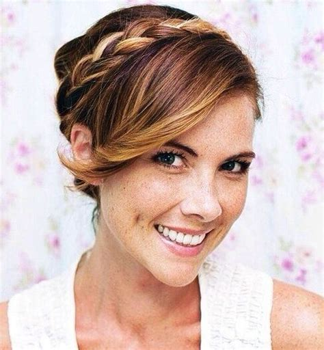 Updo Hairstyles With Bangs by Braided Updo With Side Swept Bangs Styles Weekly