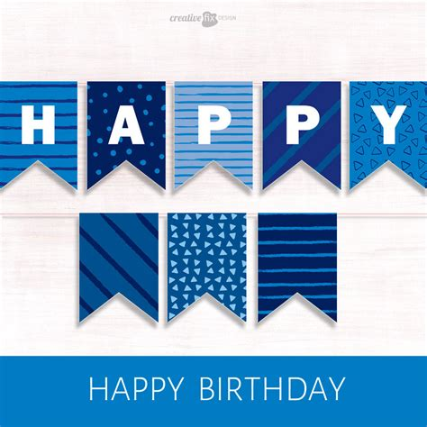 printable happy birthday banner blue printable banner blue happy birthday pretty diy decor blue