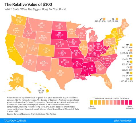 cost of living by state map what is the real value of 100 in your state tax foundation