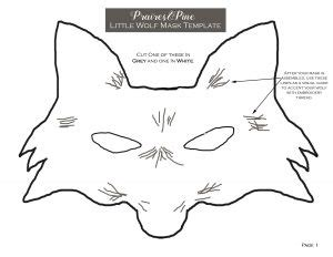 printable wolf mask black and white turn old t shirts into fairytale costumes prairie pines