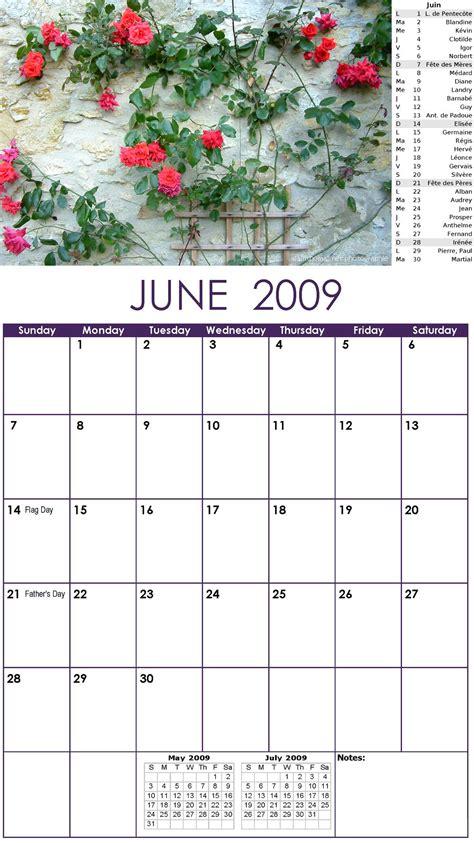Calendrier Juin 2009 Calendrier 2009