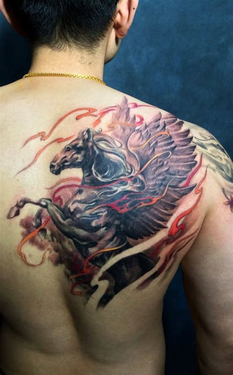 pegasus tattoo brilliant colorful pegasus on back