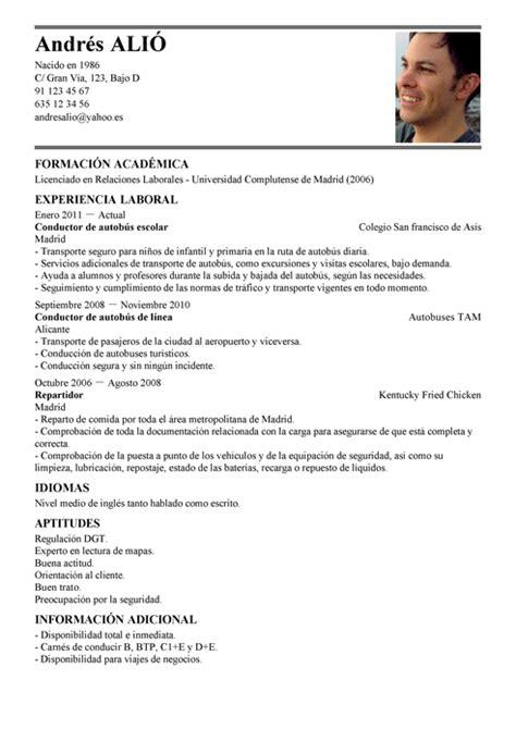 Modelo De Curriculum Vitae Peru Ministerio De Trabajo Modelo De Curr 237 Culum V 237 Tae Conductor De Autob 250 S Conductor De Autob 250 S Cv Plantilla Livecareer