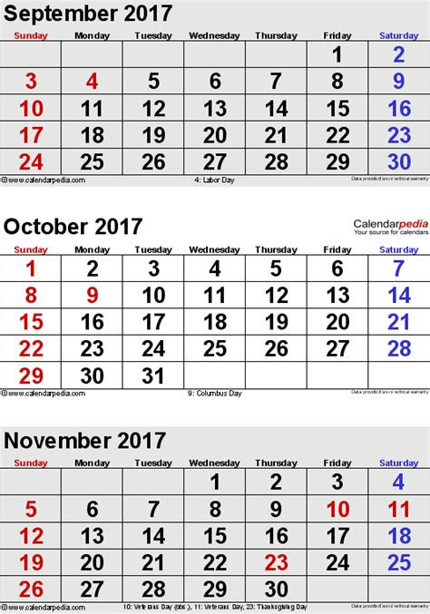 printable calendar october november december 2017 october 2017 calendars for word excel pdf