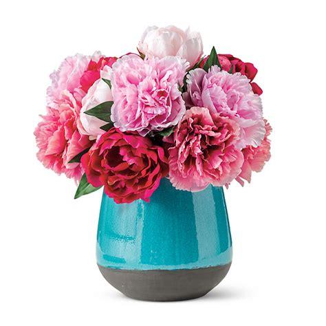 peonies in vase pink peonies in turquoise vase gump s
