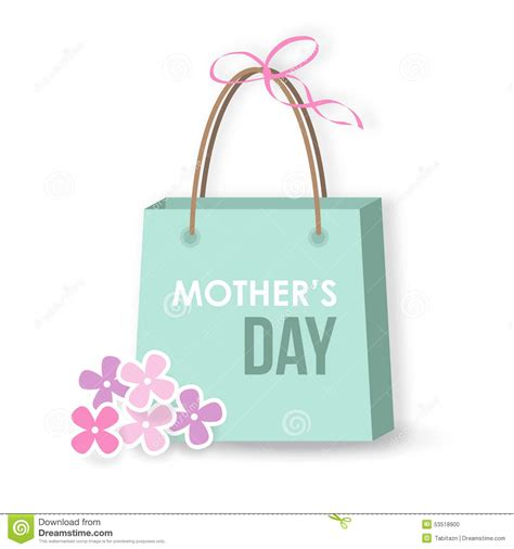 shopping for s day mothers day card icon gift shopping bag stock vector