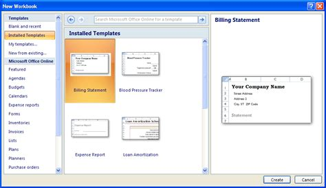 create a workbook with a template workbook create