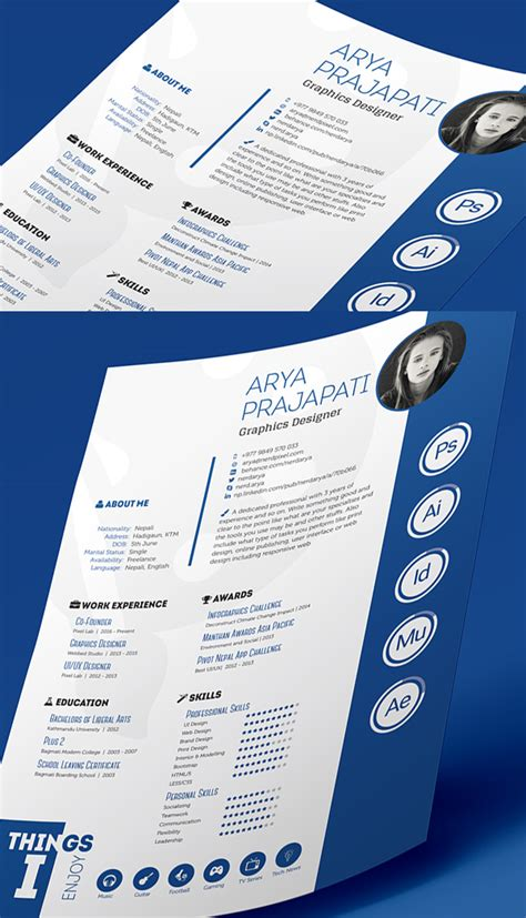 indesign resume template free professional cv resume and cover letter psd templates