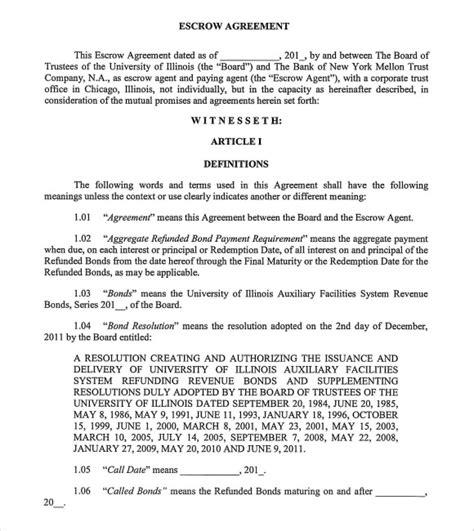 escrow agreement template 10 sle escrow agreement templates sle templates